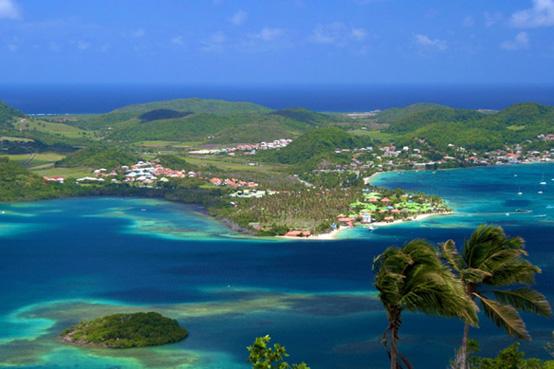 Vue sur le sud de la Martinique